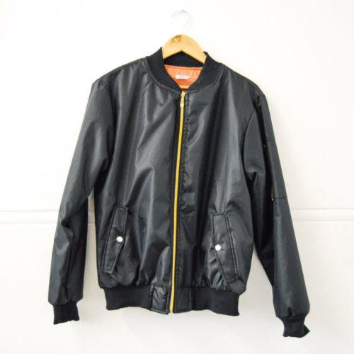 Black Aviation Bomber Jacket with Orange Inner Lining