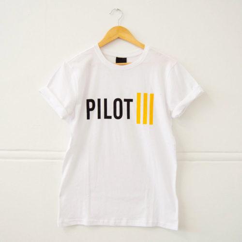 Ladies Pilot White & Yellow Strips T-Shirt