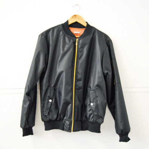 Black Aviation Bomber Jacket with Orange Inner Lining