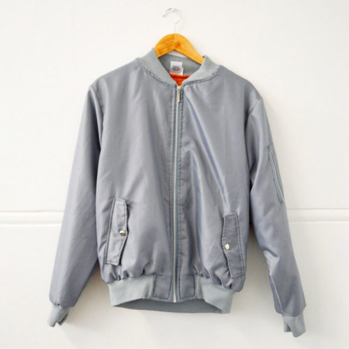 Grey aviation bomber jacket with orange inner lining