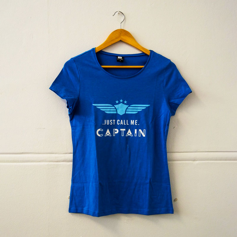 Ladies Blue Just Call Me T-Shirt