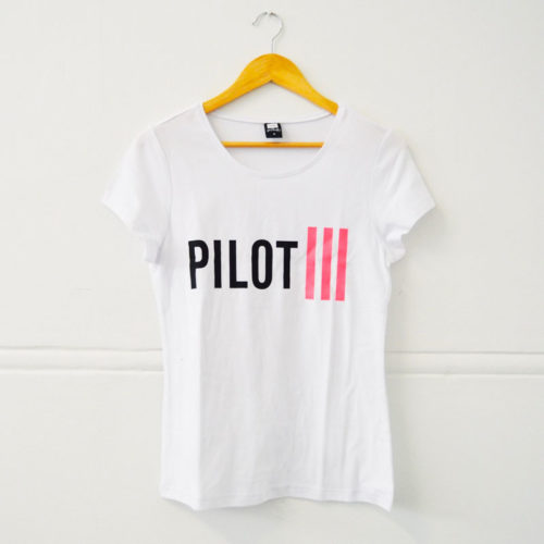 Ladies Pilot White & Pink Strips T-Shirt