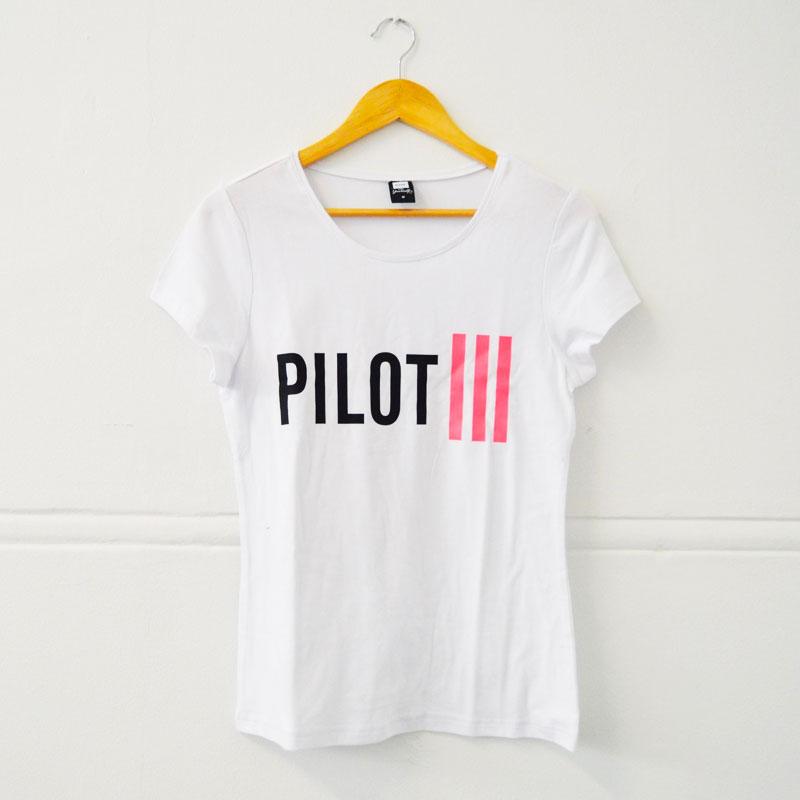 Ladies Pilot White & Pink Strips T-Shirt