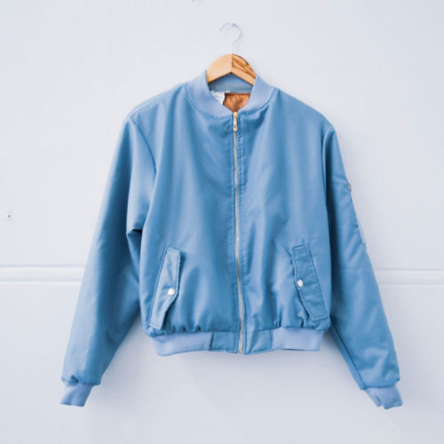 Light Blue Aviation Bomber Jacket with Orange Inner Lining