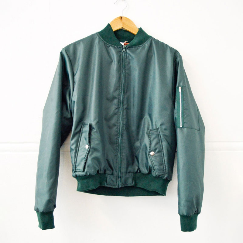 Military Green Aviation Bomber Jacket with Orange Inner Lining