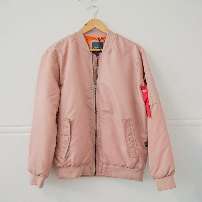 Pink Aviation Bomber Jacket with Orange Inner Lining